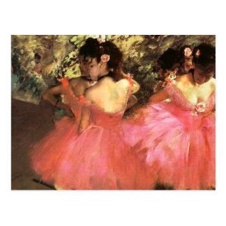 Desgaseifique dançarinos no cartão cor-de-rosa cartão postal