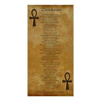 Desiderata no fundo Ankh do olhar do pergaminho Poster Perfeito