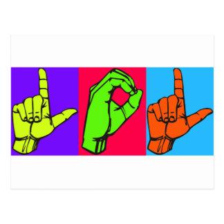 Design #2 do linguagem gestual de LOL Warhol ASL Cartões Postais