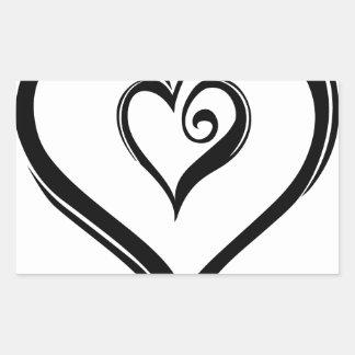 Design aberto dos corações adesivo retangular