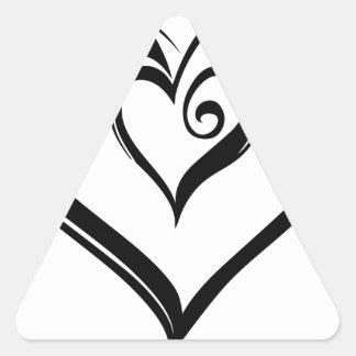Design aberto dos corações adesivo triangular