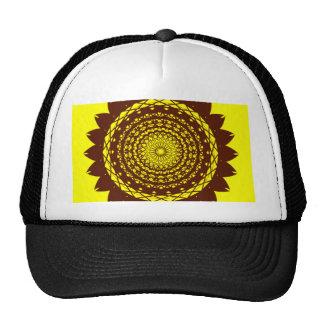 Design abstrato do vetor do girassol (amarelo/marr boné