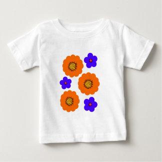 Design alaranjado azul floral camisetas