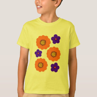 Design alaranjado azul floral do camiseta