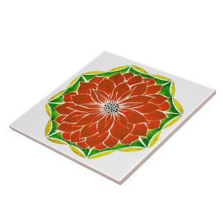 Design ALARANJADO da POINSÉTIA Azulejo De Cerâmica