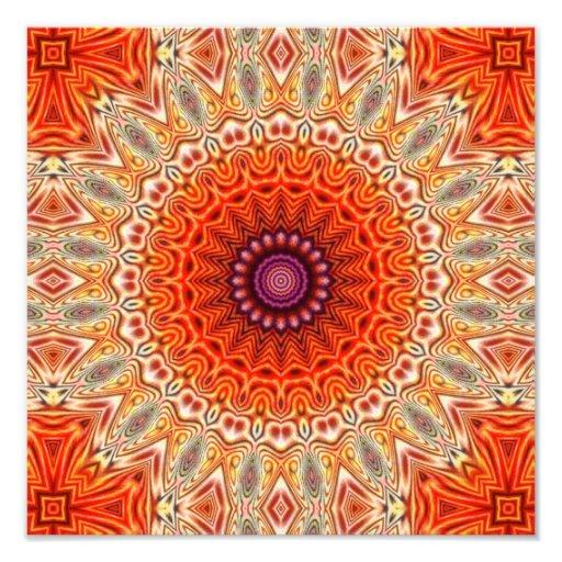 Design alaranjado e branco da flor Kaleidoscopic Impressão De Foto