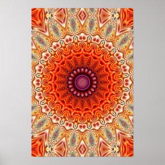 Design alaranjado e branco da flor Kaleidoscopic Poster