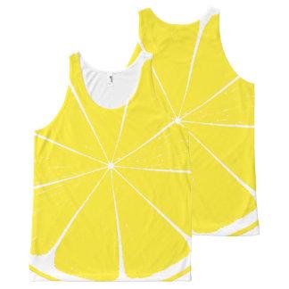 Design amarelo brilhante da fatia dos citrinos do regata com estampa completa