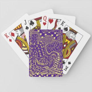Design amarelo roxo do Hippie em cartões de jogo Baralho