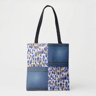 Design animal azul do impressão do teste padrão de bolsa tote