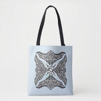 Design animal da arraia-lixa subaquática tribal bolsa tote