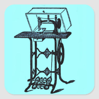 Design antigo chique retro da máquina de costura adesivo quadrado