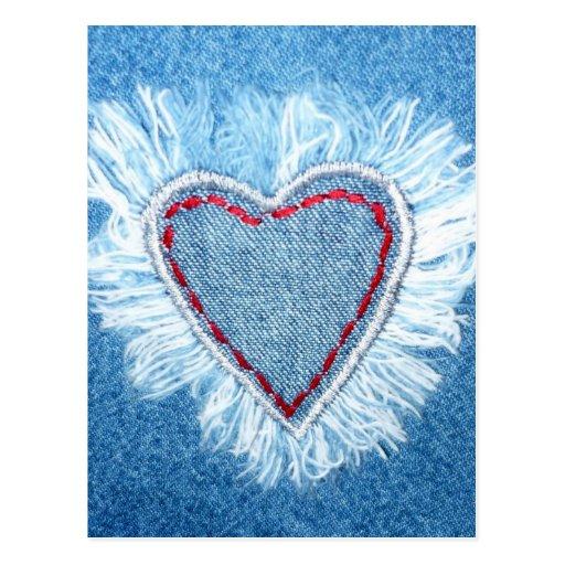 Design artístico do coração de jeans cartões postais