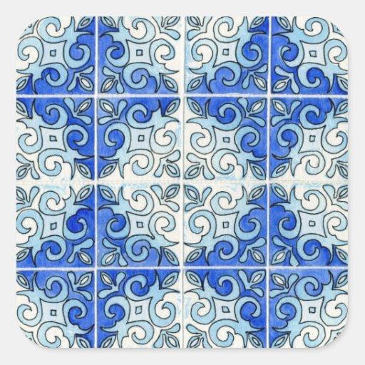 Design azul 2 do azulejo - redemoinhos adesivo quadrado