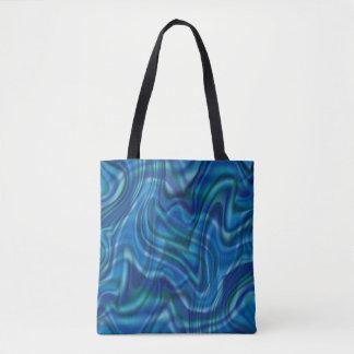Design azul abstrato do redemoinho bolsa tote