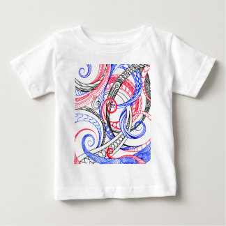 Design azul branco vermelho do Doodle do zen de Camiseta Para Bebê