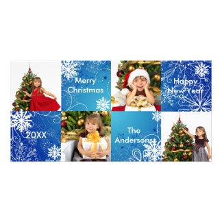 design azul da neve dos quadrados 8H - cartões de Cartão Com Foto