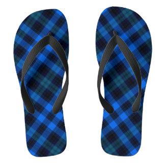 Design azul da xadrez chinelos