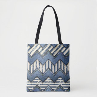 Design azul do impressão do teste padrão de bolsa tote