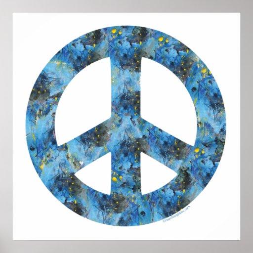 Design azul do sinal de paz, símbolo de paz posters