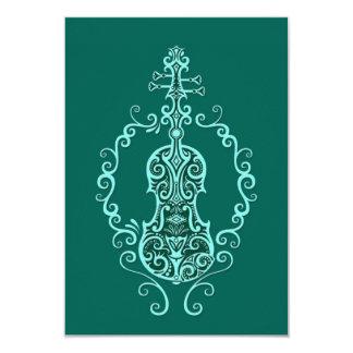 Design azul do violino da cerceta intrincada convites