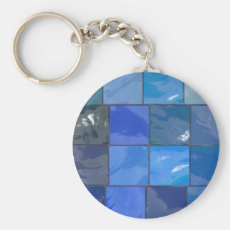 Design azul dos azulejos do banheiro chaveiro