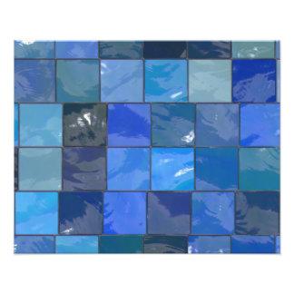 Design azul dos azulejos do banheiro impressão de foto