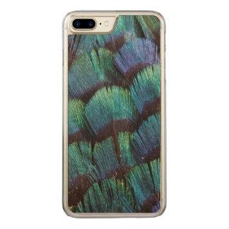 Design azul esverdeado da pena do faisão capa iPhone 8 plus/ 7 plus carved