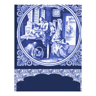 Design azul holandês do azulejo de Delft do vintag Papel Timbrado