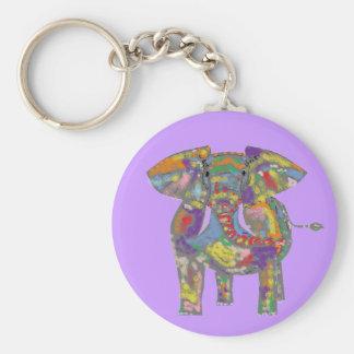 Design bonito do elefante do arco-íris chaveiro