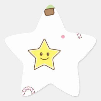 Design bonito do Natal de Kawaii Adesito Estrela