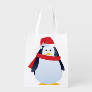 Design bonito do Natal do pinguim Sacola Ecológica
