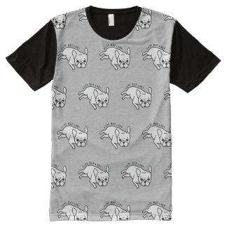 Design bonito mas preguiçoso do buldogue francês camisetas com impressão frontal completa