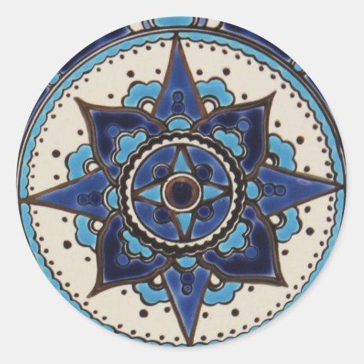 Design branco azul do azulejo do estilo árabe adesivo redondo