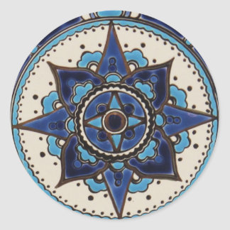 Design branco azul do azulejo do estilo árabe trad adesivo redondo