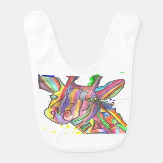 Design branco do girafa do arco-íris do babador do