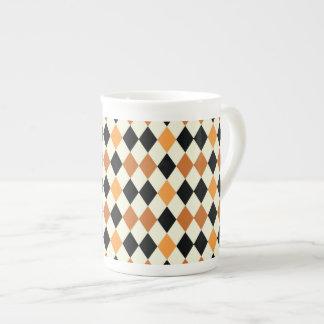 Design branco do preto medieval do ouro do xícara de chá