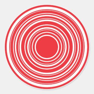 Design branco vermelho do olho de touros dos adesivo em formato redondo
