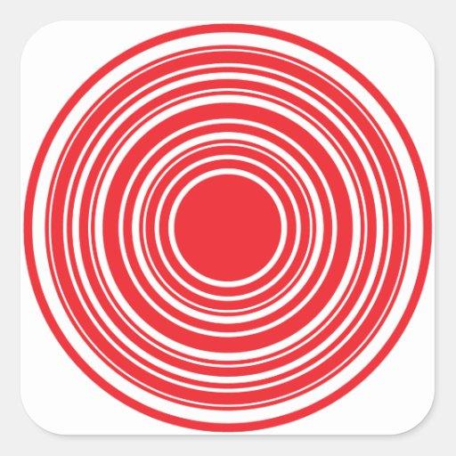 Design branco vermelho do olho de touros dos adesivos quadrados