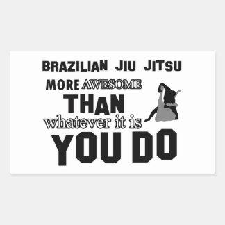 Design brasileiro impressionante do jitsu do jiu adesivo retangular