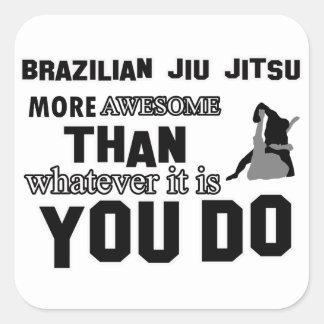 Design brasileiro impressionante do jitsu do jiu adesivos quadrados