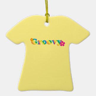 Design brilhante Groovy e das flores das cores 60s Ornamento De Cerâmica Camiseta