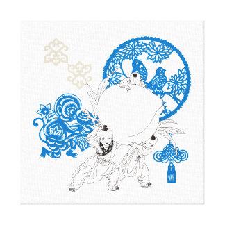Design chinês do teste padrão do vintage impressão em tela