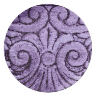 Design cinzelado flor de lis no roxo bonito louça de jantar