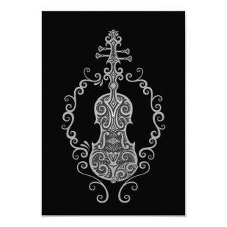 Design cinzento intrincado do violino no preto convites