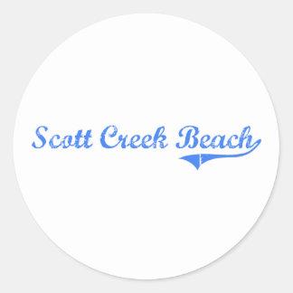 Design clássico de Califórnia da praia da angra de Adesivo Em Formato Redondo