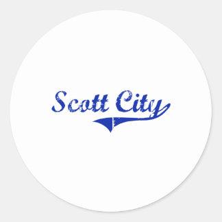 Design clássico de Kansas da cidade de Scott Adesivo Redondo
