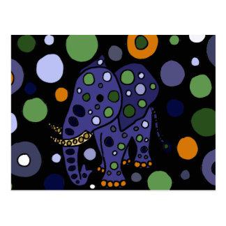 Design colorido da arte do elefante e dos círculos cartão postal