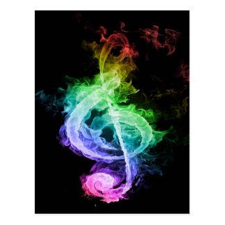 Design colorido da nota musical cartão postal