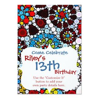 Design colorido das bolhas dos círculos do mosaico convite 12.7 x 17.78cm